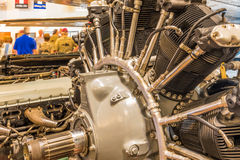 Closeup of a vintage Airplane Engine. Closeup view of a vintage airplain engine from a WWII aircraft Royalty Free Stock Image