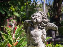 Closeup vintage beautiful charm cement angle statue in the garde Royalty Free Stock Image