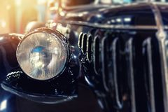 Closeup of a vintage blue car Royalty Free Stock Images