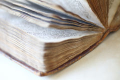 Closeup vintage book of Psalms. Fanned-out pages of a religious book from the 19th century Royalty Free Stock Photography