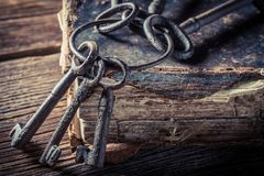 Closeup of vintage books and old keys royalty free stock photos