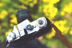 Closeup of vintage camera Royalty Free Stock Photography