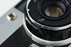 Closeup of vintage camera lens Stock Photo