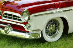 Closeup of the vintage car front end. Royalty Free Stock Photos