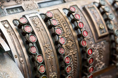 Closeup vintage cash register Stock Image