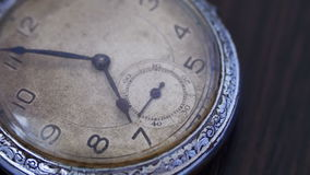 Closeup of vintage clock. Antique clock dial close-up. Vintage pocket watch,A macro closeup of an vintage clock.Old vintage clock mechanism watch time going fast stock video footage