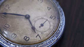 Closeup of vintage clock. Antique clock dial close-up. Vintage pocket watch,A macro closeup of an vintage clock.Old vintage clock mechanism watch time going fast stock footage
