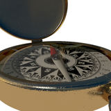 Closeup of vintage compass on white Stock Photo
