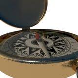 Closeup of vintage compass on white Stock Photo