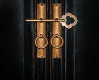 Closeup vintage copper key Stock Photos