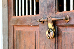 Closeup of a vintage door with lock Royalty Free Stock Photography