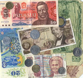 Closeup of vintage european currency Stock Photography