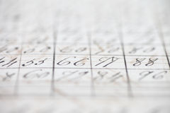 Closeup of vintage handwritten numbers Stock Image