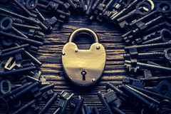 Closeup of vintage keys and locks Stock Photos