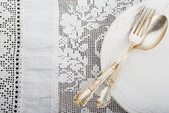 Closeup of vintage lacy white cloth handmade Royalty Free Stock Photos