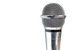 Closeup of vintage microphone on white background Stock Photos