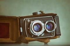 Twin lens analog photo camera close up. stock photos