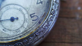 Closeup of vintage pocket clock time going fast stock footage