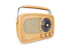 Closeup Vintage Radio. On a white background Stock Photography
