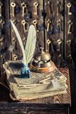 Vintage reception in hotel with guestbook and keys. Closeup of vintage reception in hotel with guestbook and keys royalty free stock photography