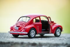 Closeup of vintage red miniature volkswagen bettle in outdoor. Mulhouse - France - 16 October 2018 - closeup of vintage red miniature volkswagen bettle in royalty free stock images