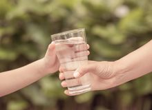 Closeup vintage woman hand giving glass of fresh water to child. In the park. Drink and health care concept stock photography