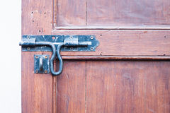 Closeup vintage wooden door locked Royalty Free Stock Photography