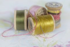 Closeup of Vintage Thread Spools stock images
