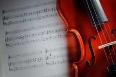 Violin with musical score. Closeup violin with musical score Stock Images