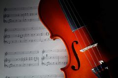 Violin with musical score. Closeup violin with musical score Royalty Free Stock Images