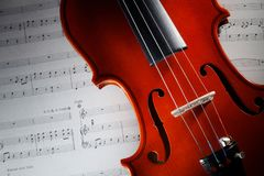 Violin with musical score. Closeup violin with musical score Royalty Free Stock Image