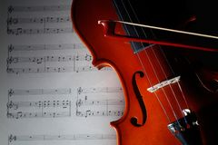 Violin with musical score. Closeup violin with musical score Stock Image