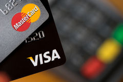 Closeup of VISA credit cards on the credit card machine Royalty Free Stock Photography