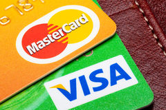 Closeup of Visa and Mastercard credit cards. Royalty Free Stock Photo
