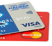 Closeup of Visa and Mastercard credit cards Royalty Free Stock Photography
