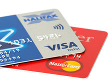 Closeup of Visa and Mastercard credit cards Royalty Free Stock Photo