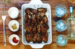 Alcohol, rum, gin, vodka, chicken wings, barbecue, outdoors stock images