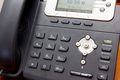 Closeup VoIP Telephone. Modern Voice over Internet Protocol Telephone using Internet Network to Operate, VoIP Telephone Royalty Free Stock Photo