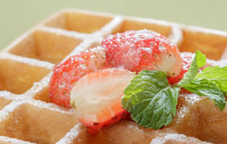 Closeup waffle with syrup and strawberries,breakfast. Stock Photos
