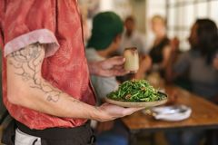 Waiter serving salad to customers sitting at a restaurant table. Closeup of a waiter serving a plate of freshly made green salad to a group of customers sitting Stock Photos