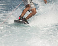 Closeup of wakeboarder on water Stock Image