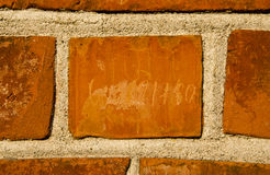 Closeup of wall made of bricks background fragment Royalty Free Stock Images