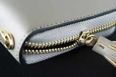 Closeup of wallet zipper textured Royalty Free Stock Images