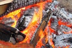 A closeup of a warm campfire Stock Images