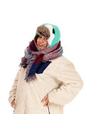 Closeup of warm dressed woman. Stock Images