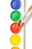 Closeup water color paints and brushes Royalty Free Stock Images