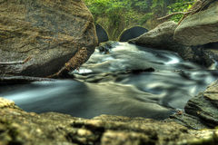 Closeup of Water Stream Moving Through Rocks Royalty Free Stock Images