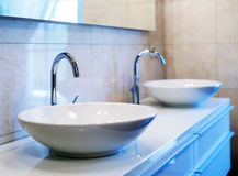 Closeup of water-supply faucet. In modern bathroom Stock Images
