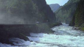 Closeup of waterfall full of sprinkles stock video footage