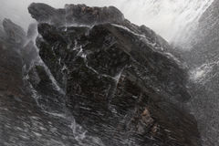 Closeup of waterfall landing on rock/water Stock Photo